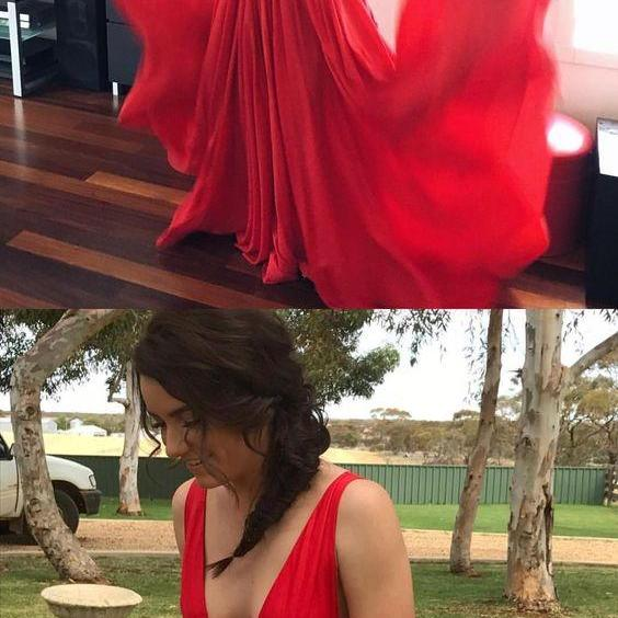 red summer party dresses, chic deep v-neck long prom dresses, elegant evening dresses