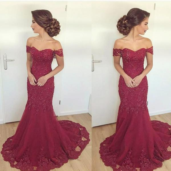 Burgundy Evening Dress,Mermaid Prom Dress,Lace Evening Gowns,Elegant Formal Dress