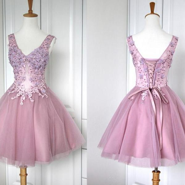 Charming Homecoming Dress,A-Line Homecoming Dress,Organza Homecoming Dress,V-Neck Short Prom Dress,PD1700397