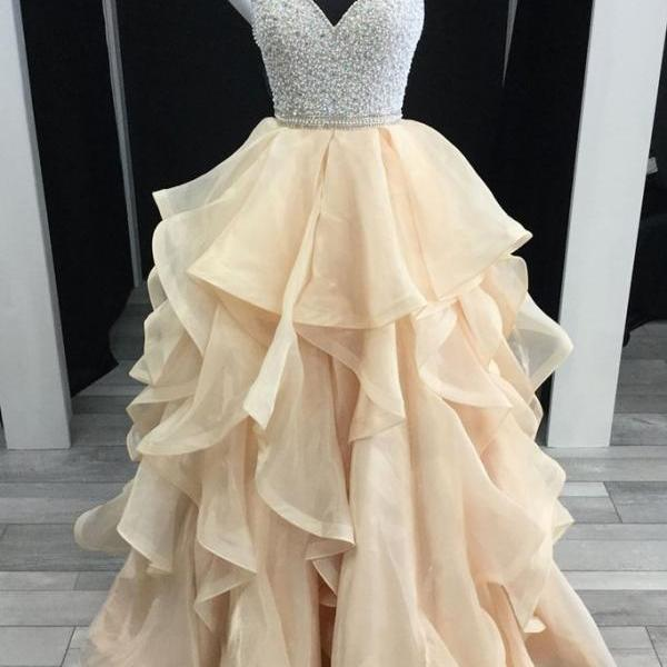 champagne tulle beaded A-line long prom dress, PD33364