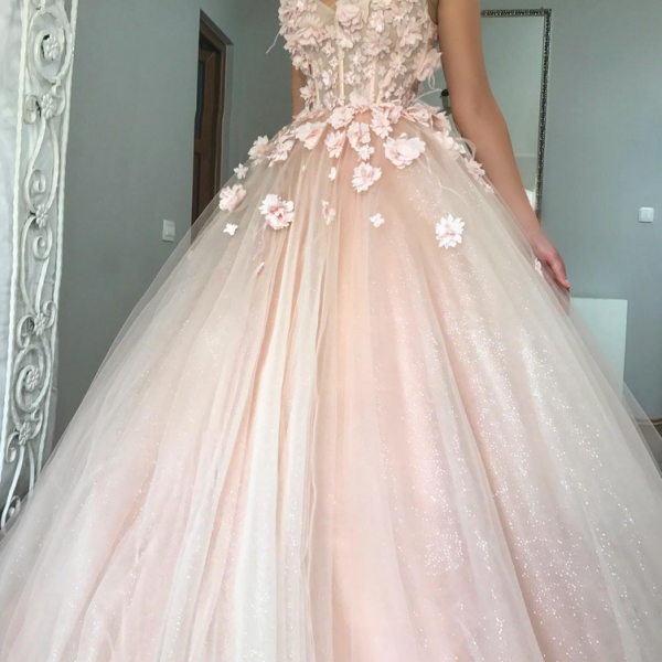 Charming Ball Gown Wedding Dress, Appliques Pink Tulle Bridal Dresses