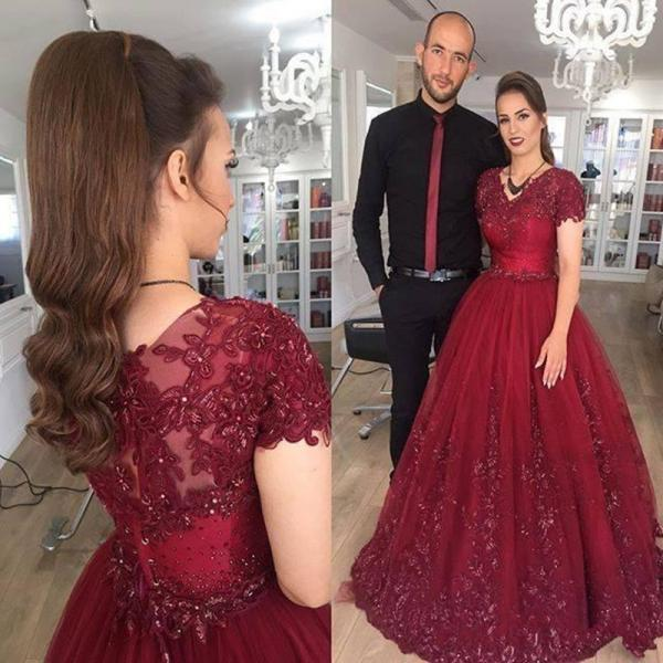 Charming Prom Dress, Ball Gown Prom Dresses with Appliques, Cap Sleeve Evening Dress, Formal Dresses