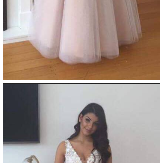 Lace V-Neck Tulle Appliques Evening Gowns Gorgeous Prom Dress
