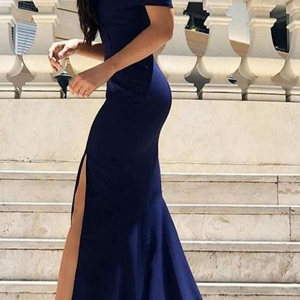 Petite Mermaid Slit Navy Blue Prom Dress Satin Party Gowns Split Evening Dresses L8420