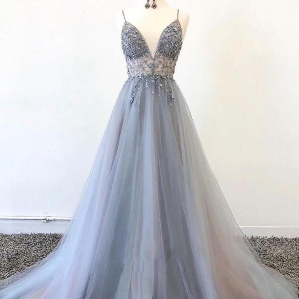 Sparkly Prom Dresses Aline Spaghetti Straps Long Grey Prom Dress Fashion Evening Dress JKL1635