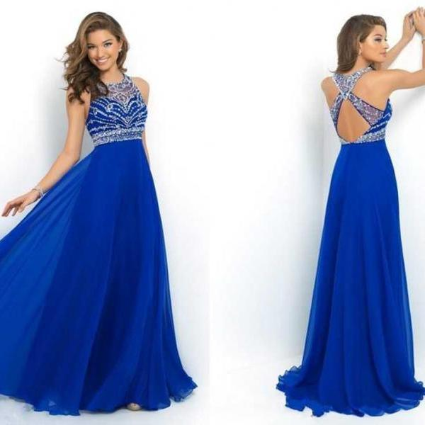 Elegant Royal Blue Chiffon A-Line Prom Dress 2016 Halter Bandage Backless Sparkly Beading Long Prom Dress New