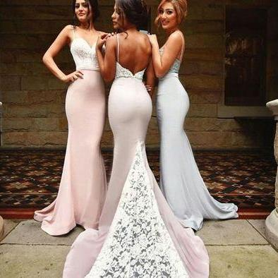 Gorgeous Off-the-shoulder Mermaid Long Navy Bridesmaid Dress/Prom Dress with Train Floor Length Backless Prom Dresses,