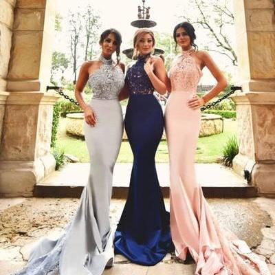 Sexy Mermaid High-neck Long Prom Dress with Train Gorgeous Off-the-shoulder Mermaid Long Navy Bridesmaid Dress, Prom Dress with Train, Mermaid Bridesmaid Dress, Bridesmaid Dresses, Navy Blue Bridesmaid Dress