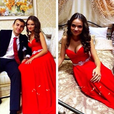 2016 Sexy Chiffon Red V Neck Backless Mermaid Formal Gown Prom Dress,Bridesmaid Dresses