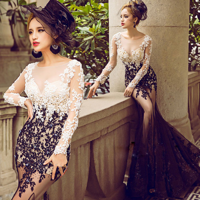 Sexy Appliques Evening Dress Formal Dress See Through Back Evening Dress Long Evening Gown Formal Gown