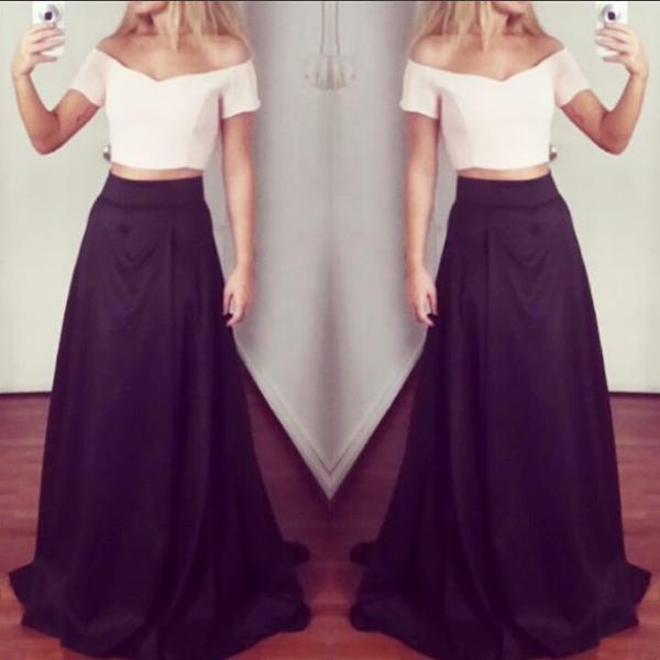 Off Shoulder Long A-line Prom Dress White Black Skirt,Two Pieces Elegant Prom Gowns,Simple Cheap Part Prom Gowns