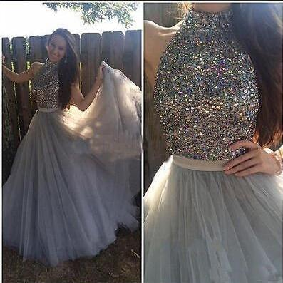 Custom Made Prom Dresses,Long Evening Dresses,Prom Dresses, High Quality Prom Dress, Two Piece Prom Dresses, Gray Tulle Beading Prom Dresses