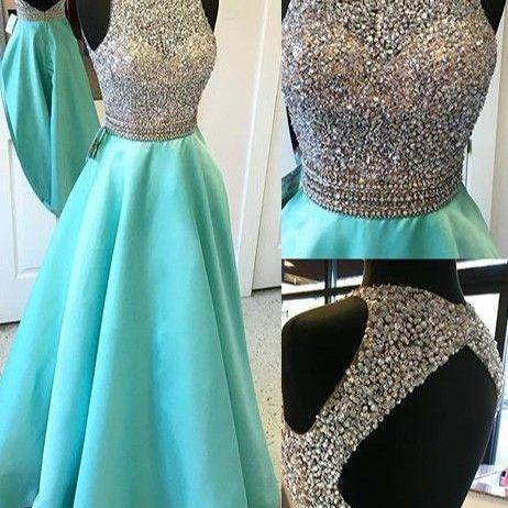 Cap Sleeves Long A-line Teal Prom DressesmBeading Open Back Satin Prom Dresses,Modest Evening Dresses,Party Prom Dresses,Pretty Prom Gowns.