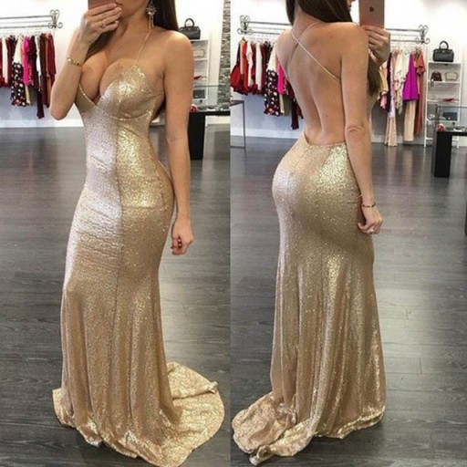 Luxurious Prom Dress,Floor Length Mermaid Style Gold Prom Dress ,Halter Backless Evening Homecoming Dress,Sexy Graudation Dress,Party Dress,Special Occasion Dress,Sexy Evening Gowns,Straps Long Prom Dress With Gold